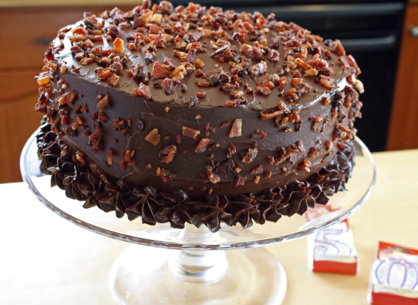 Gluten-Free Bacon Sprinkled Chocolate Birthday Cake